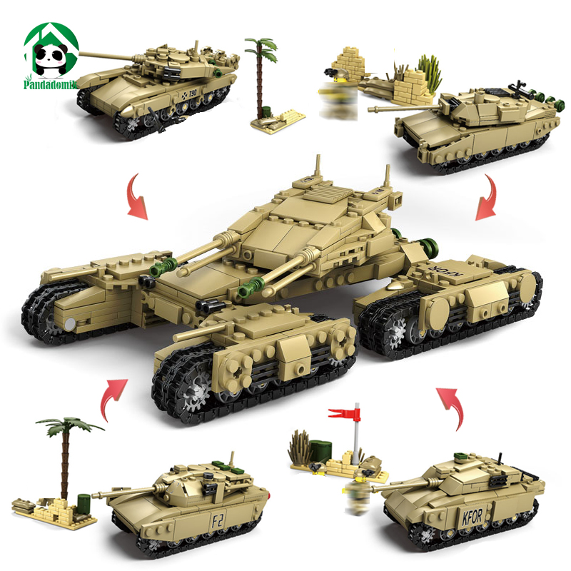 Kazi Military 1242pcs Mammoth Tank 4 sets Pack Building Blocks Toy Bricks Kits Set 8 Army Man Fgures Boys Toys Compatible lepin large military 8 in1 747pcs 8 figures building blocks tank warship army war toys for children constructor set compatible lepin