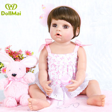 55cm Reborn Baby Doll Full Silicone Vinyl Bebe Realista short hair Girl Toy For Princess Gift big eyes boneca de pano