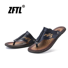 ZFTL New Mens flip flops male slip-on foot beach Slippers man sandals large size 38-47 summer outdoor slippers handmade  51
