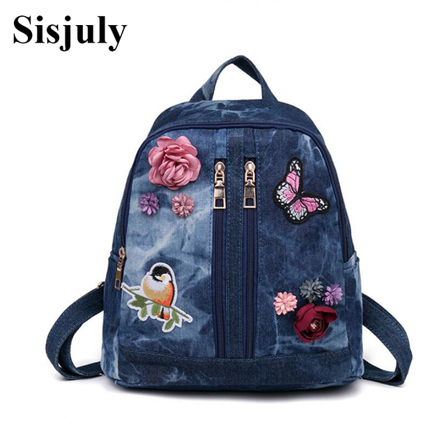 Sisjuly Women Backpack Women School Bags Travel Backpack Embroidered