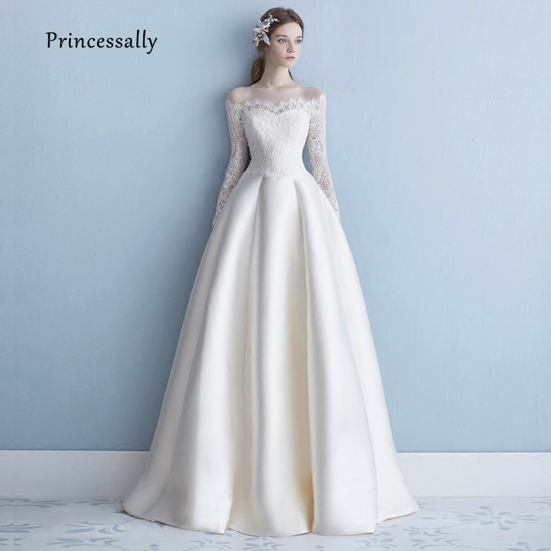 Robe De Soriee New Simple Wedding Dress Full Sleeve Lace Boat Neck Elegant Long Satin Bride