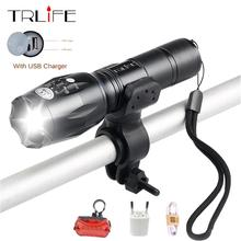 USB Flashlight 8000 Lumens LED CREE XM-T6 L2  front Torch Bicycle Light cycling lamp Charger 5 Mode Bike Lamp Waterproof led