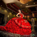 2017 New Luxury Ball Gowns Long Red Quinceanera Dresses With Gold Embroidery Organza Vestidos De 15 Anos Puffy Sweet 16 Dresses