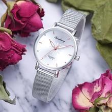 Watches For Women Luxury Silver Popular Pink Dial Flowers Metal Ladies Bracelet Quartz Clock Ladies Wrist Watch 2019 New