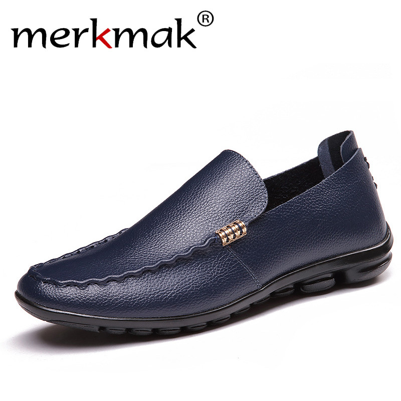 Merkmak Brand Summer Men Loafers Causal Shoes Genuine Leather Moccasins Men Driving Shoes High Quality Flats For Man Big Size summer causal shoes men loafers genuine leather moccasins men driving shoes high quality flats for man