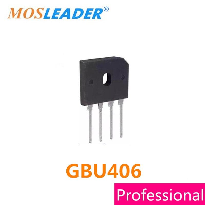 Mosleader GBU406 DIP4 100 шт. 4A 600 В GBU 406 мост выпрямителя высокого качества