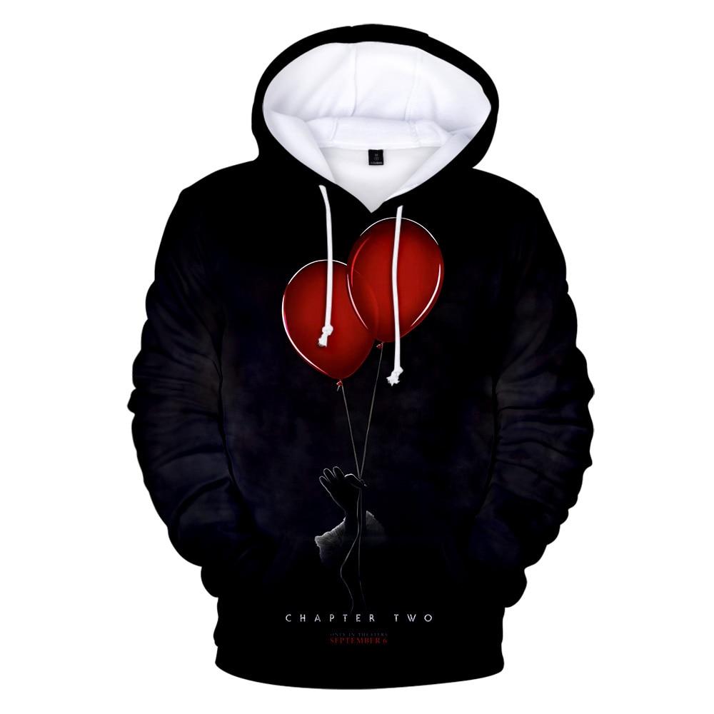 3D Sweatshirts Hoodies Gothic Ballon-Pattern Streetwear Fleece Funny It-Chapter Dark