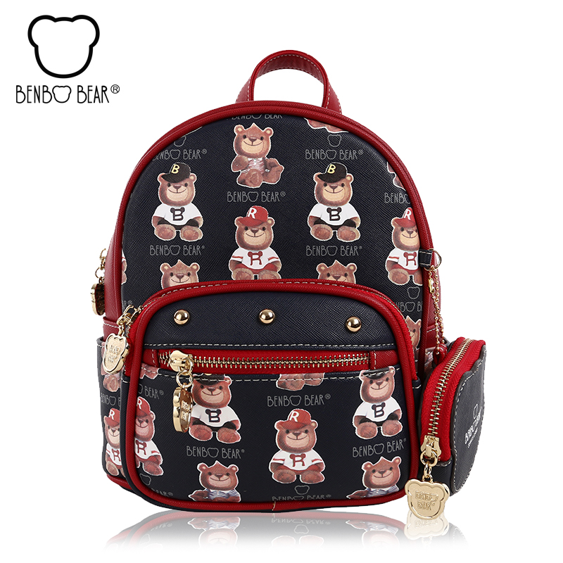 New bear Printing Backpack High Quality PU Leather Women s bags Mini College Wind School Book