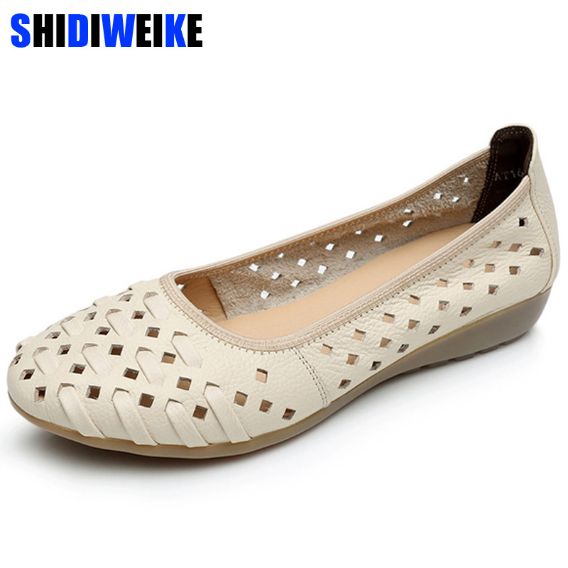 Mother Women Shoes Old Flats Hollow Out Cow Genuine Leather Slip On Loafers Casual Vintage 5 Colors 34-43 n818Mother Women Shoes Old Flats Hollow Out Cow Genuine Leather Slip On Loafers Casual Vintage 5 Colors 34-43 n818