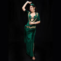 New Belly Dancing Christmas Party Handmade Dance Wear 5 pcs Dress Bra Safety Pants Headdres Oriental dance competition costume