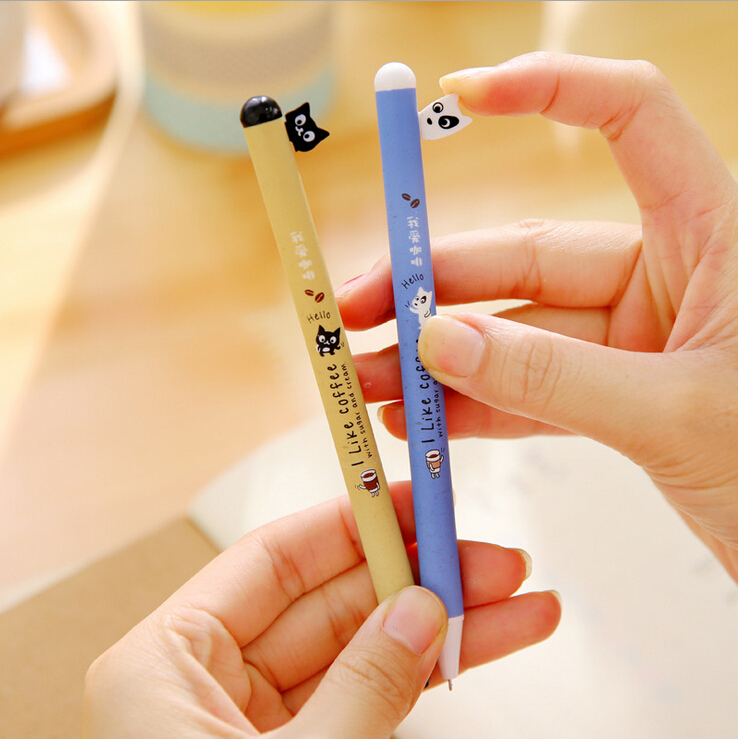J53 2X Kawaii Dog & Cat Press Gel Pen Writing Stationery School Supplies Student Rewarding Kids Gift