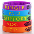 5pcs/lot Charms Silicone LOL League of Legend DOTA2 Game Wristband Silicon Bracelet Bangles ADC JUNGLE MID Letters Printed Band