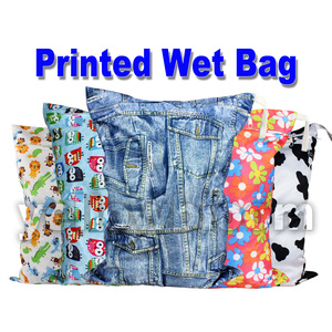 [Littles&Bloomz] Washable Reusable Cloth Diaper Wet Nappy Bag / Waterproof Swim Sport Travel Carry bag/ Big Size:40X30cm(China)