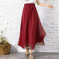 Girls Chiffon Red Skirt Summer Retro Women Vintage Cute Skirts Long Slim Bohemian Boho Beach Elegant Casual Dance School Skirt