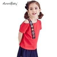 Girls T Shirt Embroidery Shoulder Summer Short Sleeve Cotton Girls T Shirt 2016 Clothes Fashion New