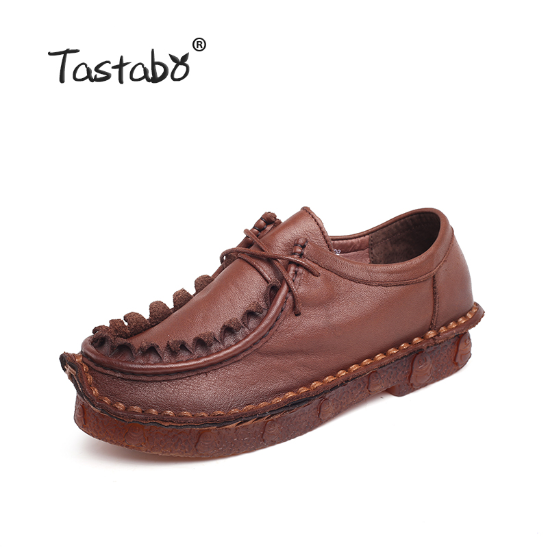 Tastabo Women Shoes  Genuine Leather Flat Shoes Woman Loafers Handmade Soft Comfortable Casual Shoes Women Flats Plus Size