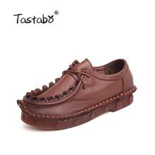 Tastabo женская обувь Обувь из натуральной кожи на плоской подошве женские лоферы ручной работы мягкая удобная повседневная обувь Женские туфли-лодочки плюс Размеры