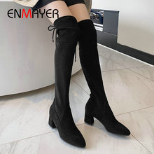 ENMAYER 2019 Faux Suede Slim Boots  Faux Suede Over-the-Knee Round Toe Winter Boots Women Hoof Heels Women Boots Size 34-39 asumer big size 33 43 fashion over the knee boots round toe zip autumn winter boots faux suede ladies thight high boots 2018 new