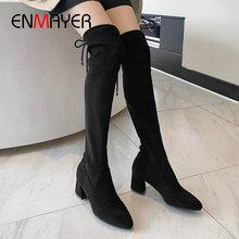 ENMAYER 2019 Faux Suede Slim Boots  Over-the-Knee Round Toe Winter Women Hoof Heels Size 34-39