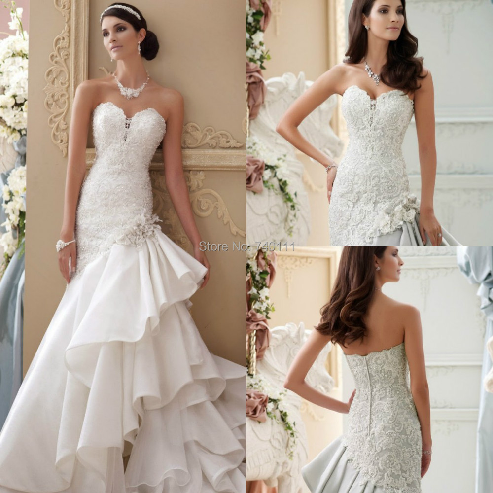 Cheap White Ivory Wedding Dresses Mermaid Lace Appliques: 2015 New Style Mermaid Appliques And Draped Corset Wedding