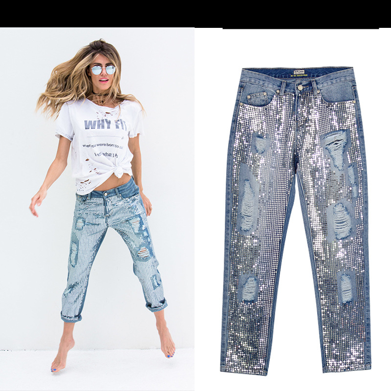 18 Fashion Hole jeans woman ripped jeans for women jeans Sequined mujer femme denim jean pants Scratched pantalones feminino 5