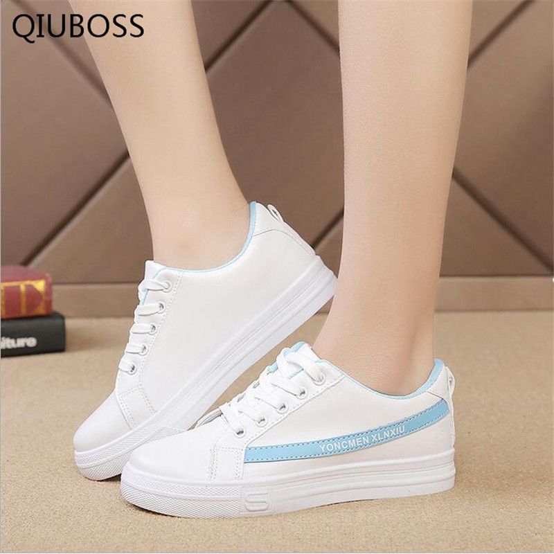 2018 New Female shoes sneakers women casual shoes cheap PU leather sewing fashion lips lace up ladies White shoes woman sneaker