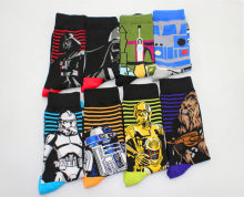 Star Wars The Last Jedi fashion Women Funny cotton socks men Crew long happy sock male winter polo warm Cartoon print flag socks(China)