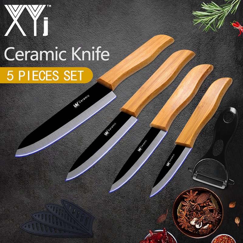 XYj Bambou Poignée Couteau de Cuisine Accessoires De Cuisine Noir Lame En Céramique Couteau de Cuisine Ustensiles De Cuisine Set 3 4 5 6 + Peeler