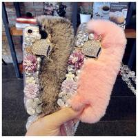 3D Diamond Real Rabbit Fur Hard Cover For Apple Iphone 7 7Plus 6 6s Plus 5