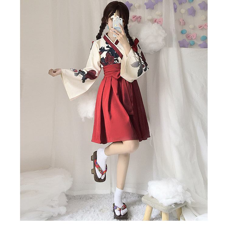 Girls Japanese Style Retro Kimono Floral Long Sleeve Woman Party Dress Summer Fashion Outfits Top Bow Skirt Haori for Female 11