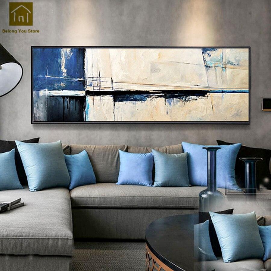 Современные Гостиная Спальня висит картина абстрактная живопись маслом Печать на холсте искусство Куадрос Decoracion Frame Wall Art QKM043