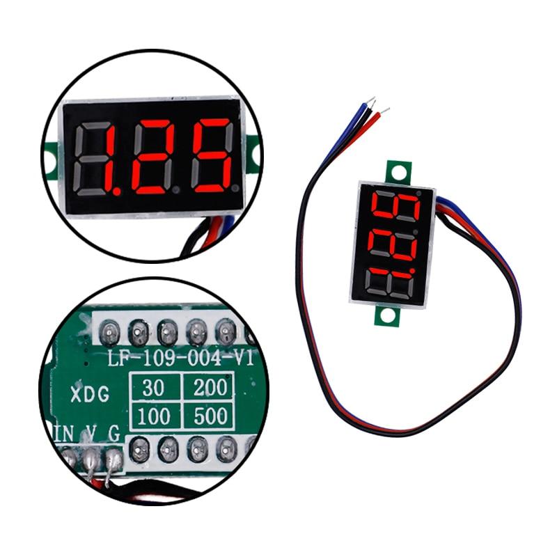 DC mini 0.36  Digital Red LED Display 0-100V Voltmeter 3 Wires Voltage Meter volt tester for car battery test 40% off yb27a led ac 60 300v digital voltmeter home use voltage display w 2 wires