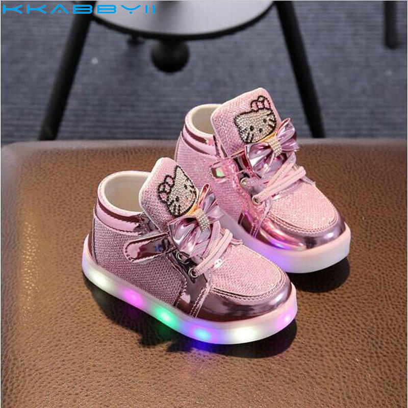 Hot New Baby Girls LED Light Shoes Toddler Anti-Slip Sports Boots Kids Sneakers Childrens Cartoon Kitty Flats shoes 5 colors