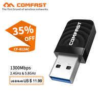 Comfast CF-812AC adaptador wifi usb 2,4 Ghz/5GHz 1300Mbps USB adaptador inalámbrico wifi de doble banda receptor AC Wi-Fi Dongle tarjeta de red