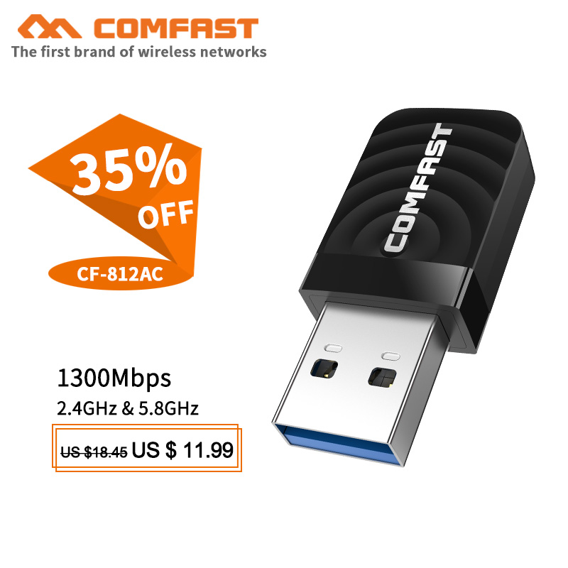 Comfast CF-812AC usb wifi adapter 2.4Ghz/5GHz 1300Mbps USB Wireless Adapter Dual Band WiFi Receiver AC Wi-Fi Dongle Network Card(China)