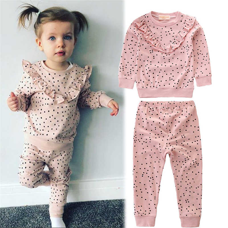 Baby Girl Ruffle Clothes Autumn Spring Polka Dot Cotton Long Sleeve Blouse Tops+Pants Leggings 2Pcs Cotton Outfits Clothes Suit