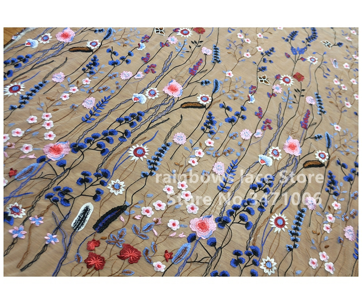 2 yards /lot good quality Multicolor Leaves Embroidered 150CM Wide Lace Fabric Evening Dress Women Embroidery voile tirm Clothes