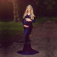 Le Couple Velvet vestido de maternidad para sesión de fotos de invierno maternidad fotografía vestido de fiesta de bebé Vestido largo de embarazo