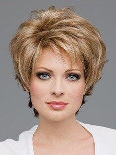 venta nueva mujer womens cut sinttica peinado pelucas de pelo corto castao rizado pelucas con flequillo with peinados pelo corto rizado mujer