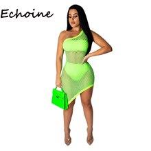 Echoine Женское ажурное сетевое платье из 3-х частей Платье на одно плечо с полым вырезом + топы