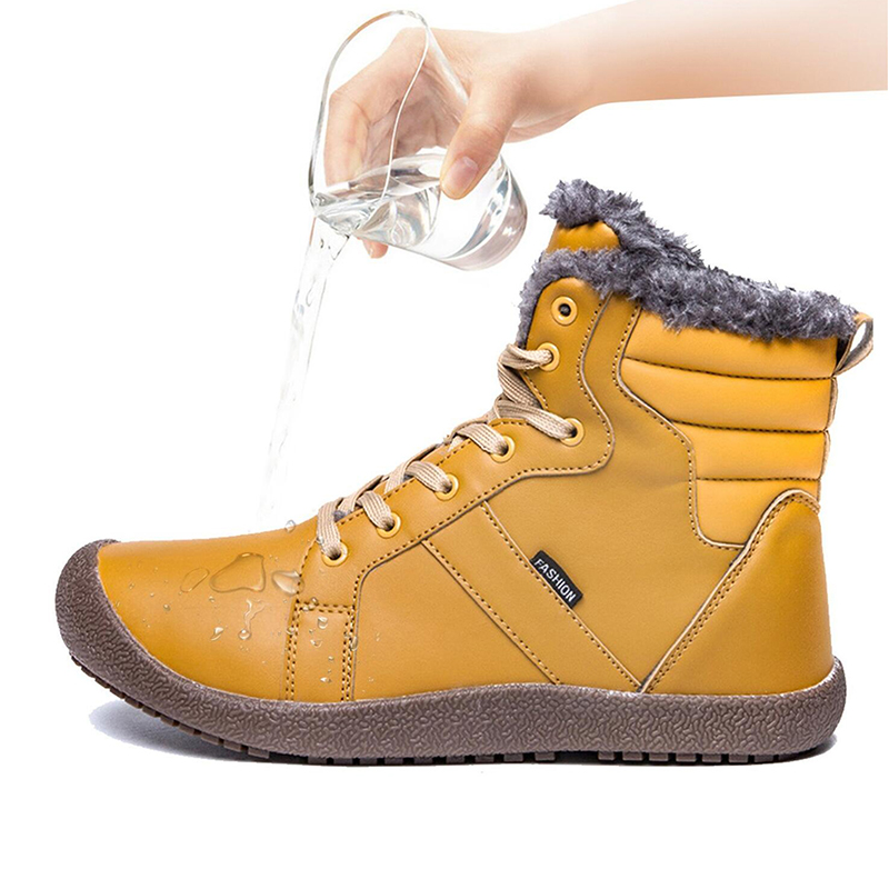 ADBOOV Warm Snow Boots Women Waterproof Fur Lined Ankle Booties Non-Slip High Top Winter Outdoor Shoes Plus Size 36-42