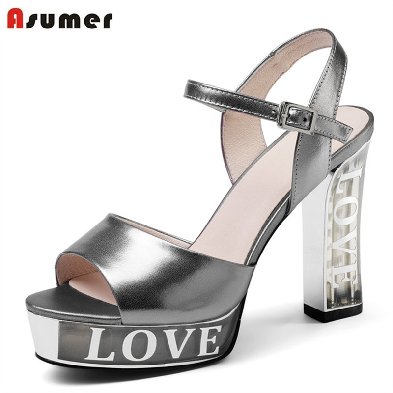 ASUMER 2020 genuine leather summer women sandals high heels shoes fashion simple leisure shoes popular comfortable