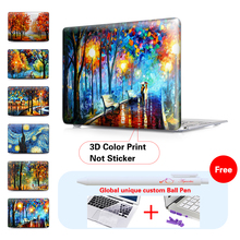Clear Crystal laptop Case For Print oil painting Macbook Air 11 13 12 Pro Retina 13.3 15 inch New 2017 Touch Bar A1706 A1707