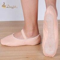 Tuval Düz Terlik Beyaz Pembe Beyaz Siyah salsa Bale Ayakkabıları Kızlar için Çocuk Kadın Yoga Gym Için CM Göre satın