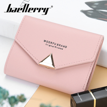 Baellerry Women Solid Pink Short Wallet PU Leather Triangle Button Hasp Coin Pocket Card Photo Holder Fashion Bag