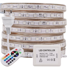Flex RGB tira LED AC 220V 60leds/m impermeable Flexible Led luces SMD 5050 cinta cuerda 1M 2M 3M 5M 10M 20M 100m casa Decoración