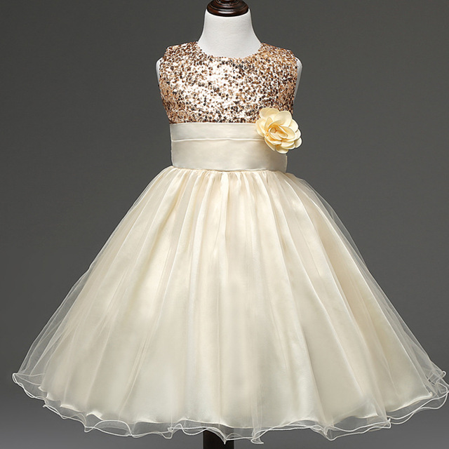 Flower Girl Dress Wedding Sequin Yellow 3 7 9 Years Ball Gowns For Infant Girls Princess