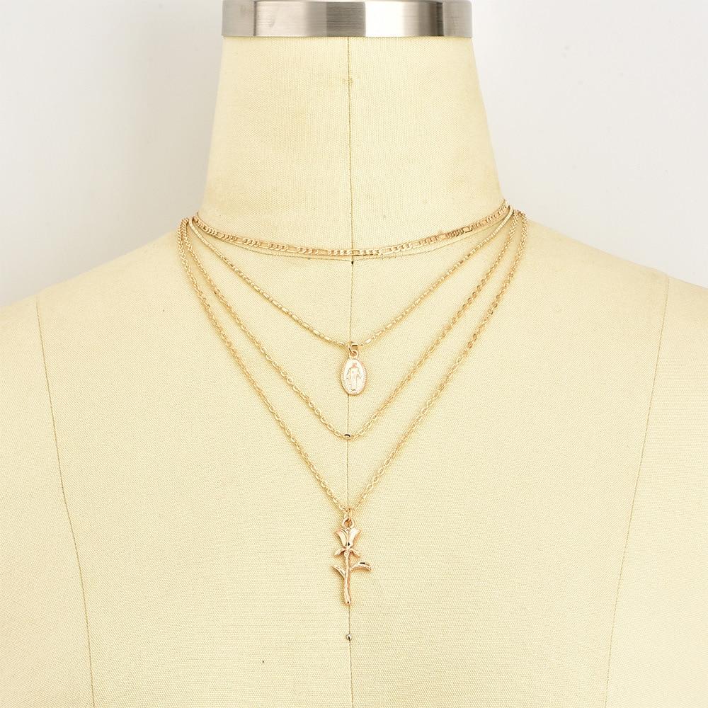 Women/'s Classic Virgin Mary Rose Flower Pendant Multilayer Gold Chian Necklacs