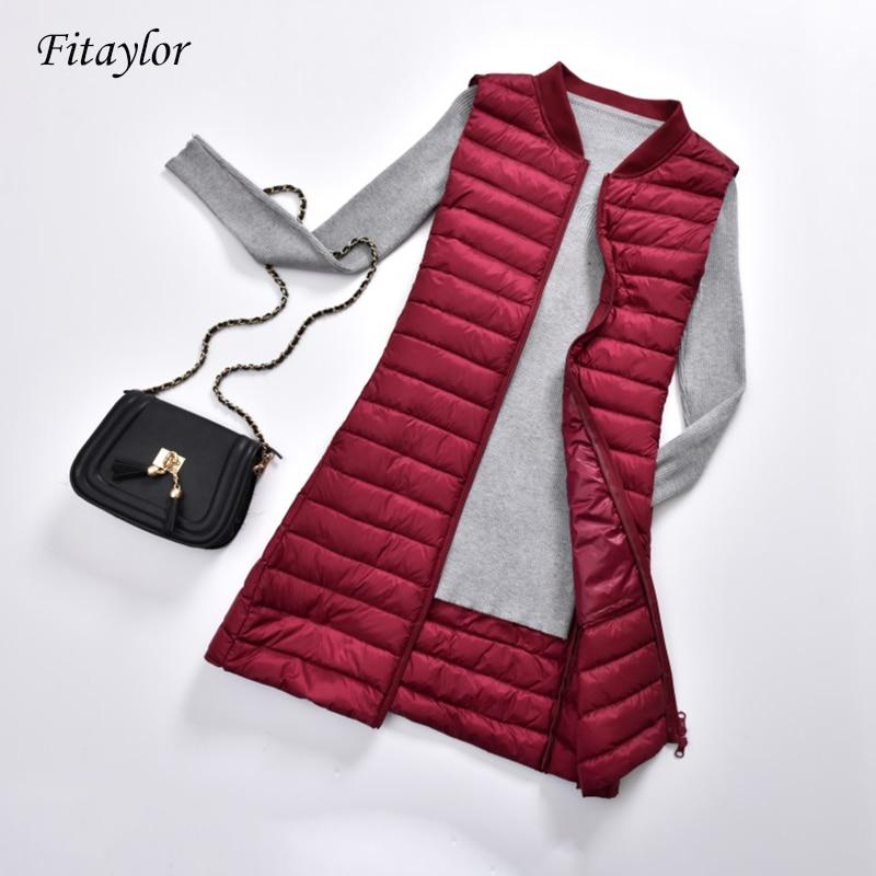 Fitaylor Ultra Light Duck Down Vest Women Casual Duck Down Vest Jacket Autumn Winter V Neck Collar Zipper Sleeveless Long Coat