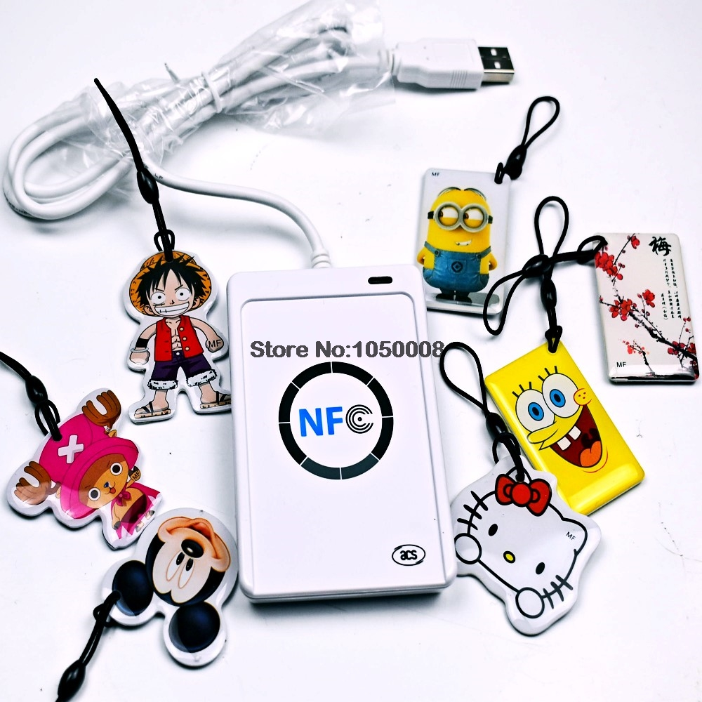 ACR122U NFC писатель 13.56 мГц RFID Копиры копировальный + 7 шт. UID Сменные метка + SDK + m- ifare Копировать Клон Программы для компьютера ...